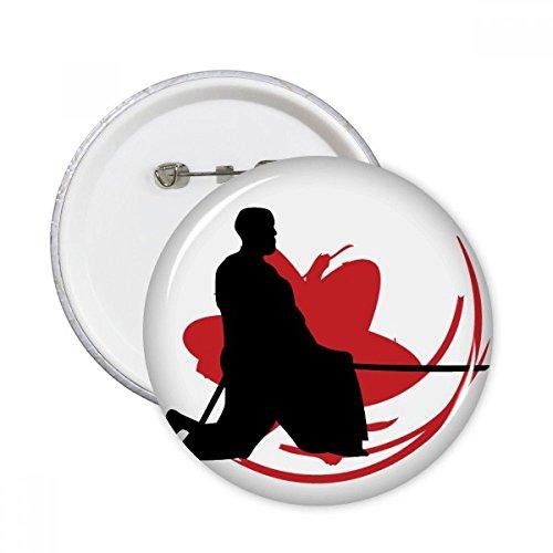 DIYthinker Botón Japón Asia Samurai Katana Sakura Hew Silueta pernos redondos Placa Ropa Decoración 5Pcs regalo XXL Multicolor