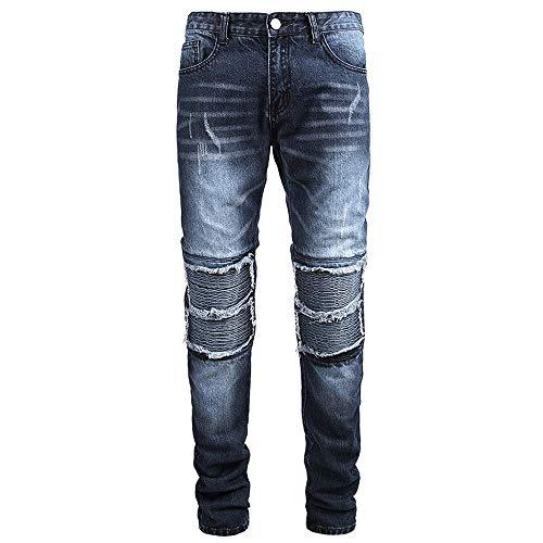 Pantalones El/ásticos Transpirables Para Moto Pantalones Resistentes A La Rotura De Moto TIUTIU Pantalones Vaqueros De Moto Para Hombre blue,L 4 Almohadillas Protectoras Desmontables
