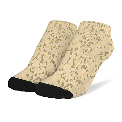 Women Athletic Socks Sports Warm Crew Socks Camouflage-green-yellow-light- Arch Support Cotton Anklets