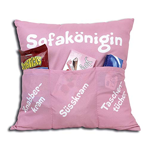 Kamaca Originelles Dekokissen Kissen mit 3 Taschen zum selber Befüllen Größe 43x43 cm tolles Geschenk für EIN gelungen Sofaabend Filmabend Öko Tex (Sofakönigin)