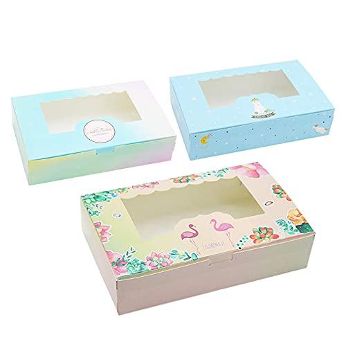 12 Pezzi di Scatola per Torta di Carta Naturale, usata per Cupcakes, Macarons, Torte Possono Contenere 6 Cupcakes (M)