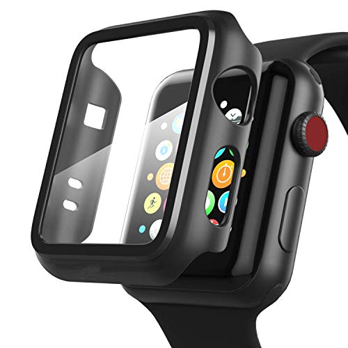 OJOS Compatible Apple Watch Case 40mm Series 5/4 with Screen Protector, Overall Full Protective Hard PC Bumper Case Ultra-Thin HD Glass Screen Protector for iWatch Series 4 Series 5 (40mm)