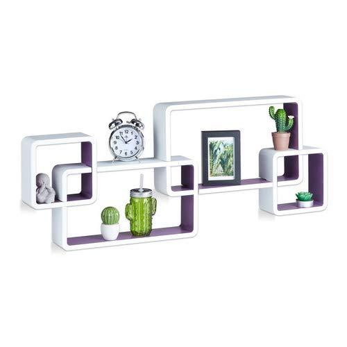 Relaxdays Wandregal Cube, Schwebend, Modernes Design, Dekorativ, Steckbar, 4 Würfel, MDF, HxBxT: 42x104x10cm, Weiß-Lila