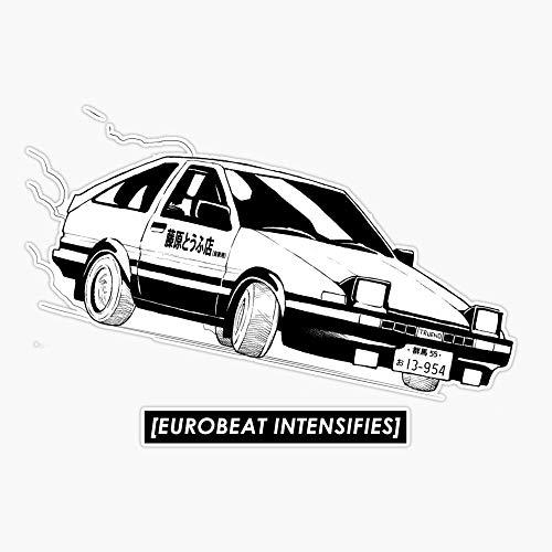 EMC Graphics Eurobeat Intensifies Ae86 Kansei Dorifto Initial D Car Vinyl Waterproof Sticker Decal Car Laptop Wall Window Bumper Sticker 5'