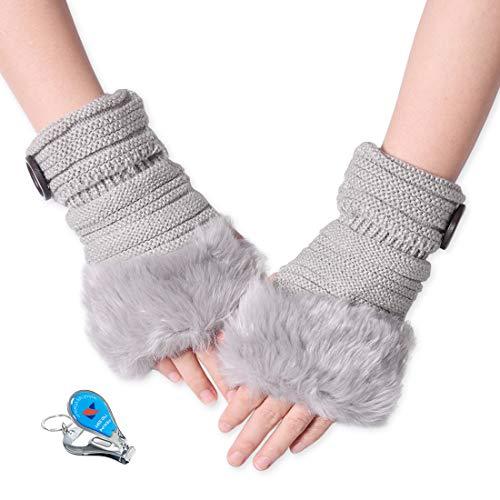KXF Daumenloch-Handschuhe, warm, gestrickt, gehäkelte Handschuhe, modisch, Damen, Kunstfell, lang, fingerlos, Handwärmer mit Knopf, Damen, grau