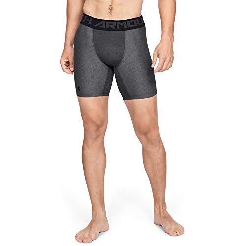 Under Armour Herren KompressionsHeatGear Armour halblange Kompressionshose, kurze Hose für Männer mit Kompressionspassform, Grau, M