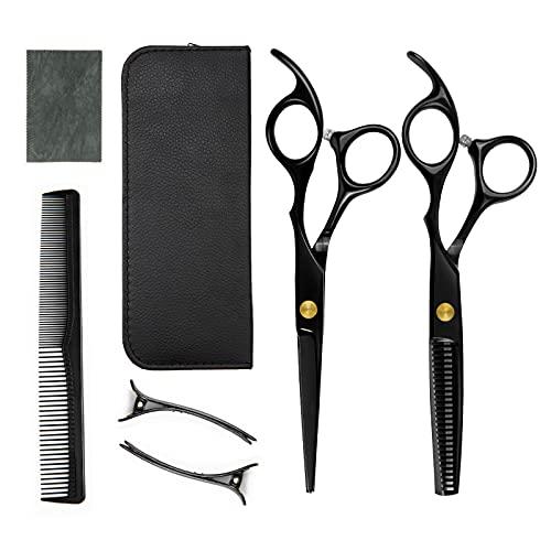 Rairsky Juego de tijeras de peluquería profesionales, tijeras para cortar el pelo de acero inoxidable, peine y clip para barbería y doméstico