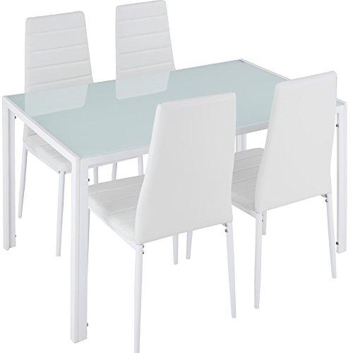 TecTake Esszimmergruppe mit Esstisch und 4 Essstühlen | Strapazierfähiges Kunstleder | Robuste Tischplatte aus Sicherheitsglas - Diverse Farben (Weiß | Nr. 402838)