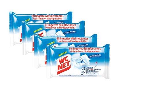 WC Net Lingettes Désinfectantes x 30 Lot de 4
