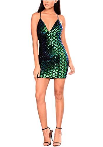 CHIC DIARY Kleid Pailletten Damen Sexy Tiefer V-Ausschnitt Träger Cocktailkleid Glitzer Abendkleider Rückenfrei für Party Club, Grün, S