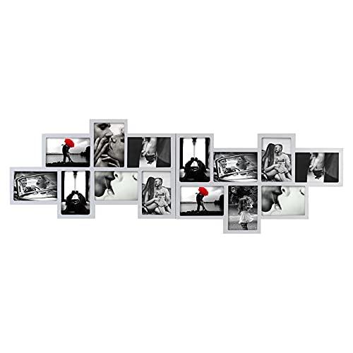 Rebecca Mobili Portafoto Multiplo, Cornice Mosaico per 14 Foto Formato 10x15, Legno Grigio, per Camera...