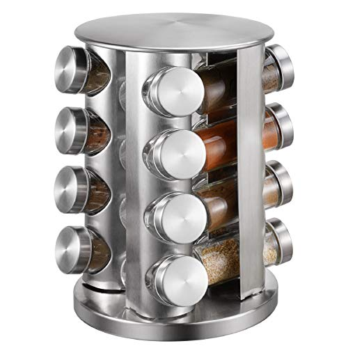 Spice Rack With 16 Jars, Countertop Spice Tower, Round Spice Rack, Countertop Spice Rack, Revolving Spice Rack Organizer for Seasoning Dried Herbs -16 Spice Jars (Spice NOT included))