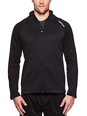 HEAD Men's Full Zip Up Activewear Jacket - Long Sleeve Running & Workout Outerwear - Lightning Black Heather, X-Large