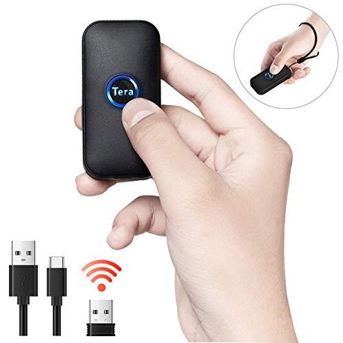 Tera wasserdichter Mini-Barcodescanner, kompatibel mit Bluetooth, 1D 2D QR Barcode-Lesegerät kabellos für PC, Laptop, Smartphone und Tablet, mit Vibrationsalarm