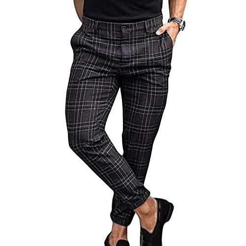 Pantalones Casuales De Negocios Para Hombre Pantalones Ocio Elásticos Pantalones Con Cremallera Pantalones Largos Entallados Pantalones Verano Culturismo Con Estampado A Cuadros (Sin Cinturón)