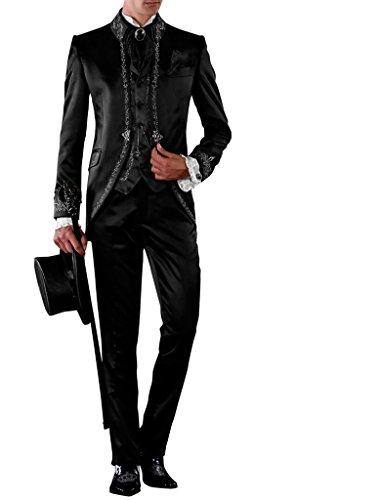 Suit Me Uomo 3 tuta da sposa fermo collare Party Vestito con ricamo del vestito giacca, gilet, pantaloni Grande Nero