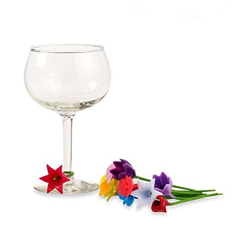 HENGSONG 6 Stück Silikon Glasmarker Blumen Glasmarkierer Weinglas Marker Charms Set, Markierer für Weingläser