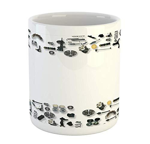Taza industrial, repuestos para automóviles, tapones mecánicos para reparación de automóviles, juntas de ruedas, garaje, taza de café de cerámica para bebidas de agua, té, 11 oz, gris y multicolor