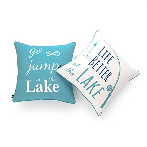 """Hofdeco Lake House Indoor Outdoor Pillow Cover ONLY, Water Resistant for Patio Lounge Sofa, Aqua Navy White Life Better Go Jump in Lake, 18""""x18"""", Set of 2"""