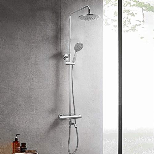 YDYG thermostaat douchesysteem thermostaat douchekop met handdouchekop en ontkalking, douchesysteem voor badkuip, badkuip, douchestang verstelbaar chroom