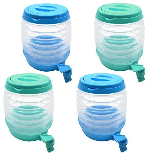 HAC24 4er Set Getränkespender Faltbar 3,5 Liter Limonadenspender Wasserspender mit Zapfhahn Saftspender Getränke Spender