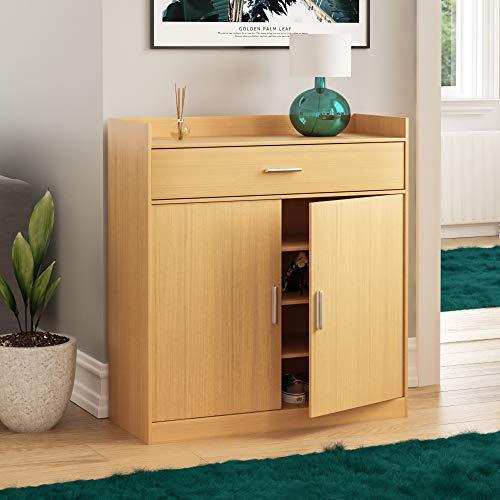Vida Designs Dalby Modern Shoe Cabinet, 2 Door 1 Drawer, Hallway Cupboard Storage Organiser, Footwear Stand Rack, Wood Sideboard Unit, Oak