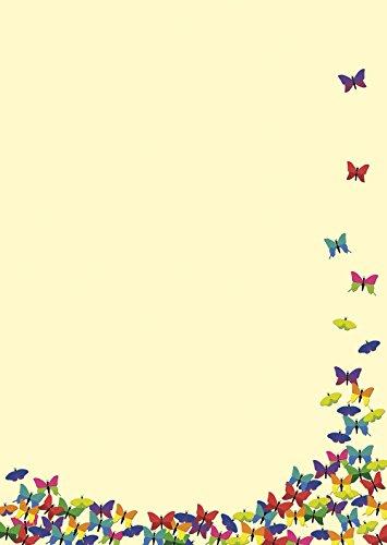 Briefpapier viele bunte Schmetterlinge 20 Blatt DIN A4 90 g/m² - 5931