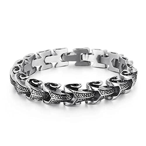 Pulsera de Dragón de Los Hombres, Gran Cadena de Acero Inoxidable Pesado de la Quilla de Alto Pulido Eslabón de la Quilla, Gothic Biker Punk Rock Hip Hop Rap Cool Wrist Jewelry Gift,Silver 22cm