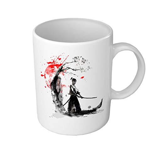 Katana - Taza de café de cerámica con diseño de samurái japonés, regalo único