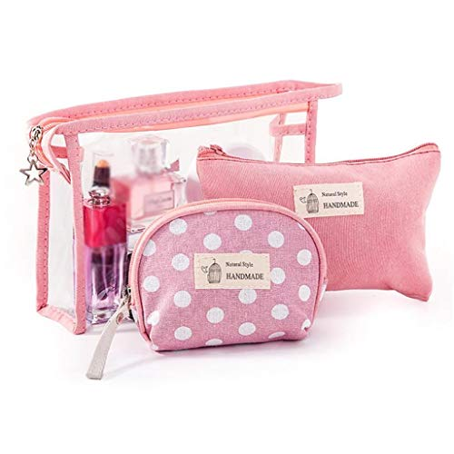 3pcs Tissu Sacs cosmétiques Maquillage Portable Pouch Voyage Organisateur Toiletry Pochette avec fermeture éclair (rose)