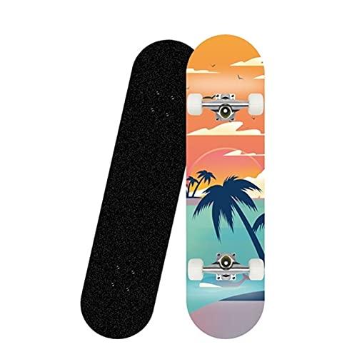 QUNHU Skatebloards para Principiantes, 31 Pulgadas Skateboard Completo para niños Adolescentes Adultos, 7 Capas canadienses Arce Doble Patada Cubierta cóncavo Crucero Truco patineta (Color : L)