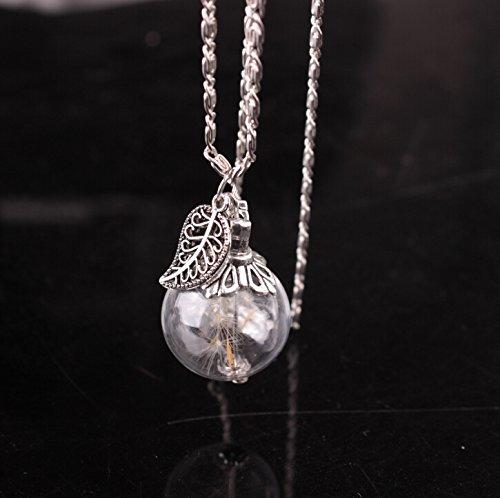ARMAC Collar con colgante de hoja de diente de león, hecho a mano, con cubierta de cristal