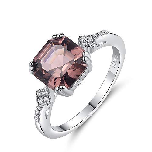 QinWenYan Cubic Zirkonia Ring Vrouwen 925 Sterling Zilver Vierkant Gesneden Zirkonia Halo Solitaire Verlovingsringen