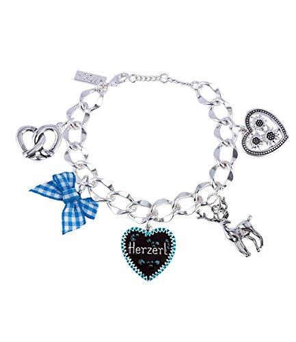 TOSH Damen Armband, Gliederarmband, Armschmuck, Trachtenschmuck, Bettelarmband, Oktoberfest, Herzerl, Brezel, Silber (364-445)