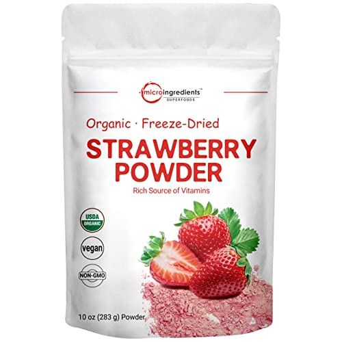 Organic Strawberry Freeze Dried Powder, 10 Ounce, Rich in Immune Vitamin and Antioxidants to Support...