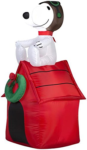 Gemmy Inflatable Snoopy on House, 3.5 Foot Holiday Inflatables Outdoor Decorations, G08-19373