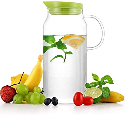Teapot 1.3 L/Liter Carafe Glass Water Pitcher with Lid and No Water Leak Milk and Juice Beverage Carafe Water Pitcher for Hot Cold Water Iced Tea Wine Song