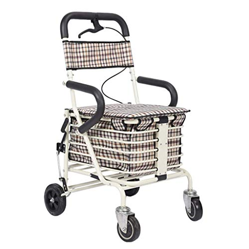 ZXCMNB Peixia Im Alter Von Walker, Einkaufswagen, Sitz, Senioren-Walker, Faltbar, Senioren-Trolley, Tragbar, Handbremse (Color : E)