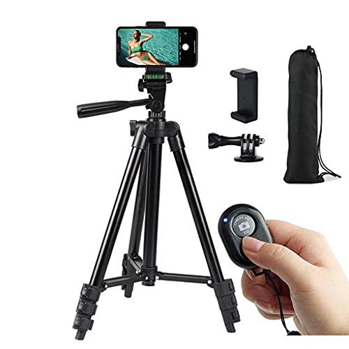 MYBOON Trípode para teléfono Inteligente Trípode para teléfono móvil Tripie Control Remoto Compatible con Bluetooth para Soporte de teléfono móvil portátil Selfie, Soporte para móvil, Negro