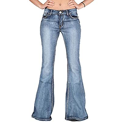 HOSDWomen Flare Jeans Slim Denim Trousers Vintage Bell Bottom Jeans Autumn High Waist Pants by HOSD