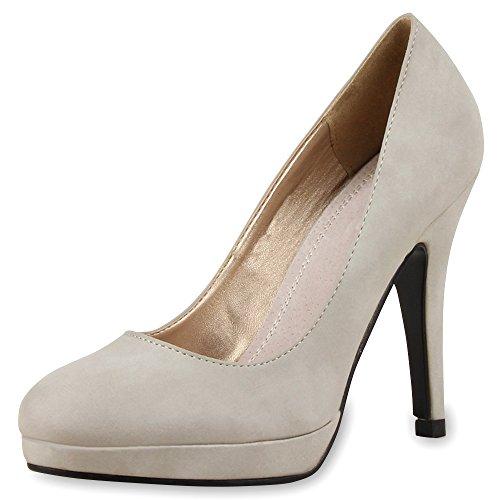 SCARPE VITA Klassische Damen Pumps Stilettos Business Plateau High Heels 165243 Grau 40