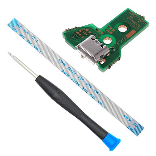 MMOBIEL Sostituzione della porta di ricarica per il modello Dualshock 4 del controller PlayStation PS4: JDS-040 12 Pin Flex Cable Incl (+) cacciavite