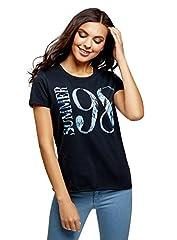 oodji Ultra Mujer Mujer Camiseta de Algodón con Inscripción y Parte Inferior no Elaborada