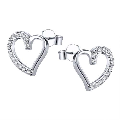 Pendientes de corazón en plata de ley con circonitas cúbicas, cierre de pasador a presión, diseño de corazón abierto,pendientes pequeños para mujeres y niñas, de AoedeJ.