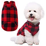 Plaid Dog Fleece Vest Clothes with Pocket Pet Winter Jacket for Cold Days Red
