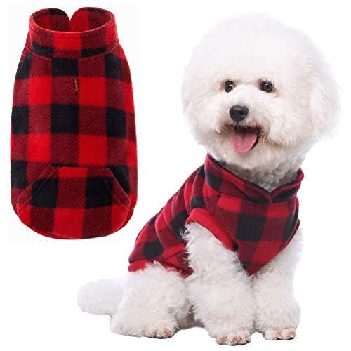 Plaid Dog Fleece Vest Clothes with Pocket Pet Winter Jacket for Cold Days Red