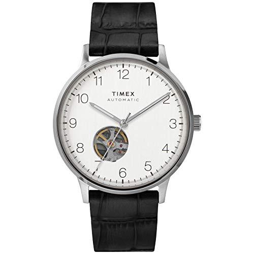 Timex Men's Waterbury Automatic 40mm Stainless Steel Self Winder Leather Strap, Black, 20 Casual Watch (Model: TW2U11500)