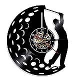 Play Golf Club Retro Disco de Vinilo Reloj de Pared LED Reloj de Pared Aficionado al Golf Reloj Decorativo Deportivo
