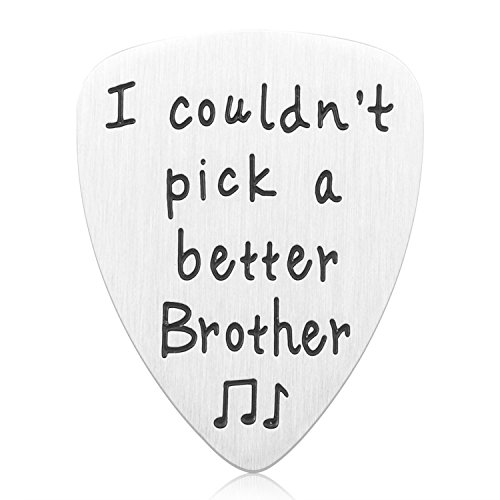 Birthday Gifts for Brother - Stainless Steel I Couldn't Pick A Better Brother Guitar Pick Jewelry, Unique Birthday Gift for Musician Brother