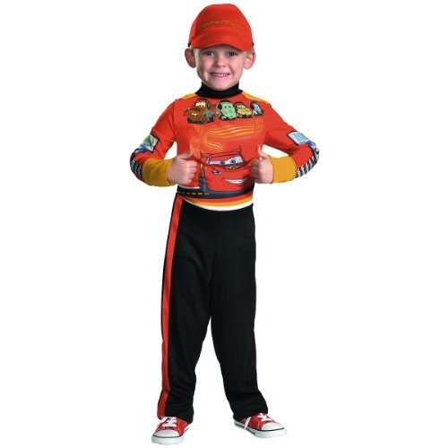 Disguise Disney Cars 2 Lightning Mcqueen Pit Crew Classic Boys Costume, X-Small/3T-4T
